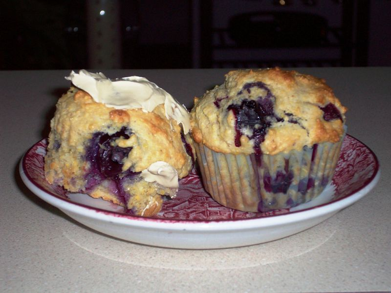 Blueberry Cornbread Muffins Plated