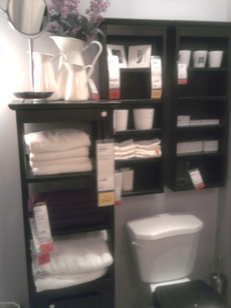 Compressed bathroom storage