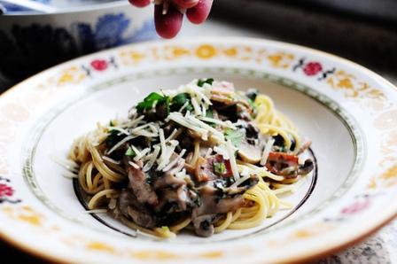 Pasta w'bacon n'mushrooms