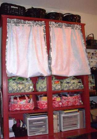 16. Red Cupboard Curtains Up