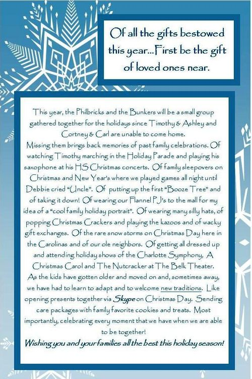 2010 Christmas Card Note