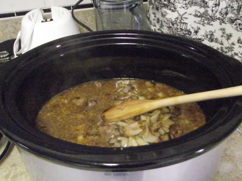 10. Add beef n'onions to crockpot