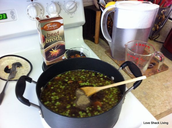 07. Add broth, water, spices n'peas